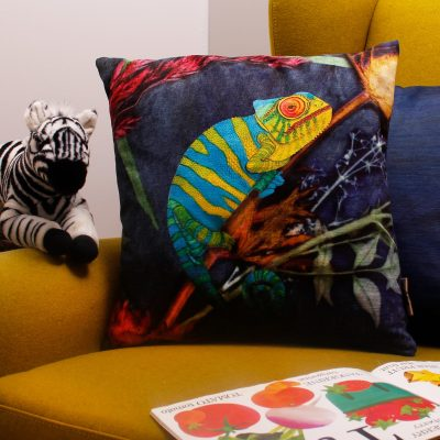 Camouflaged Chameleon | Green & Blue Sofa Cushion Tropical Interior