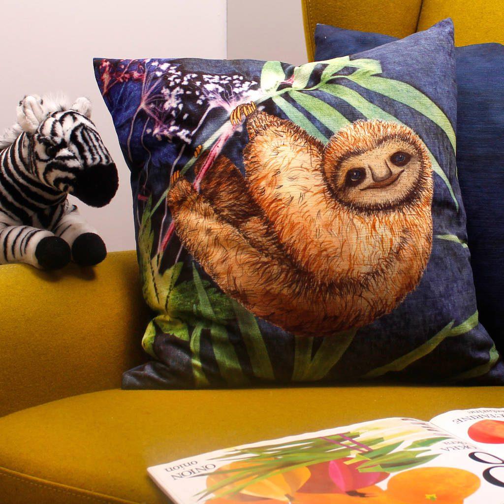 Relaxing Sloth | Brown & Blue Sofa Cushion Tropical Interior