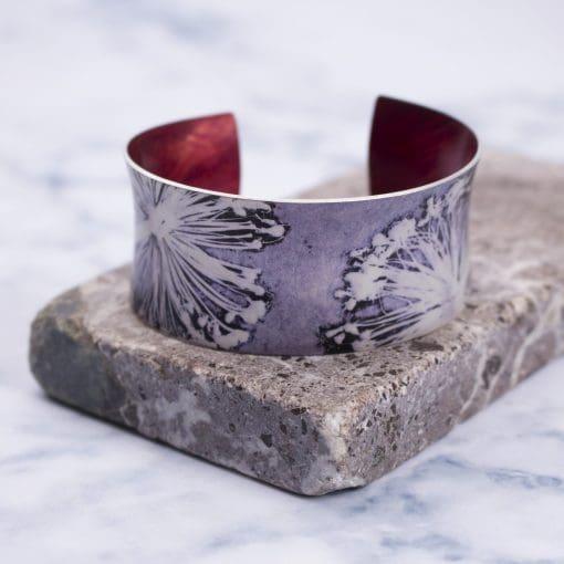 Botanical printed Aluminium Jewellery Gift, Stylish Alliums Cuff