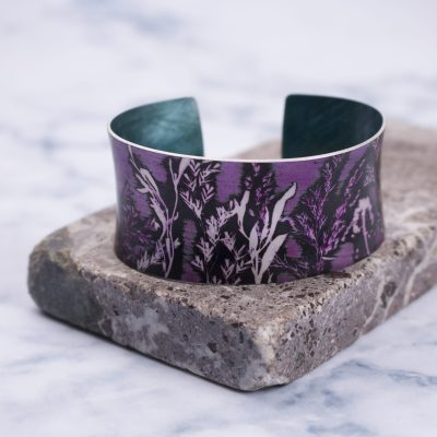 Flowing Grasses in Pink Aluminium Cuff Bracelet