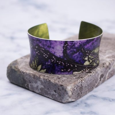 Plum Fern Botanical Inspired Aluminium Cuff, Jewellery Gift