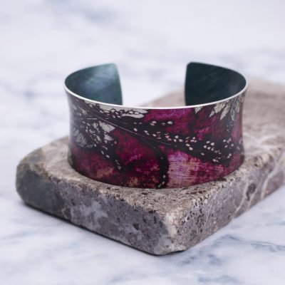 Botanical Inspired Strawberry Fern Cuff Bracelet, Stylish Jewellery