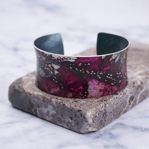 Botanical Inspired Strawberry Fern Cuff Bracelet, Stylish Jewellery