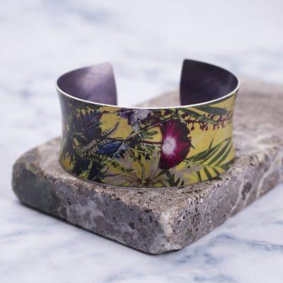 Exotic Tropical Wine Aluminium Cuff Bracelet and Jewellery Gift
