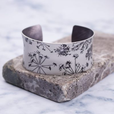 Silver Cow Parsley Aluminium Cuff Bracelet and Jewellery Gift
