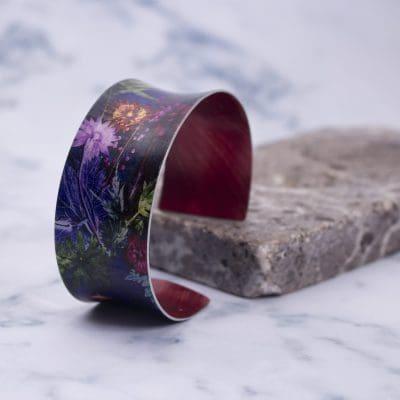 Exotic Cuff Bracelet, Indigo Tropical Aluminium Jewellery Gift