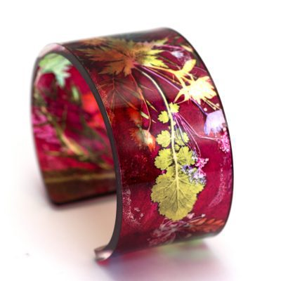 Tropical Wine Acrylic Cuff Bracelet, Exotic Jewellery Gift