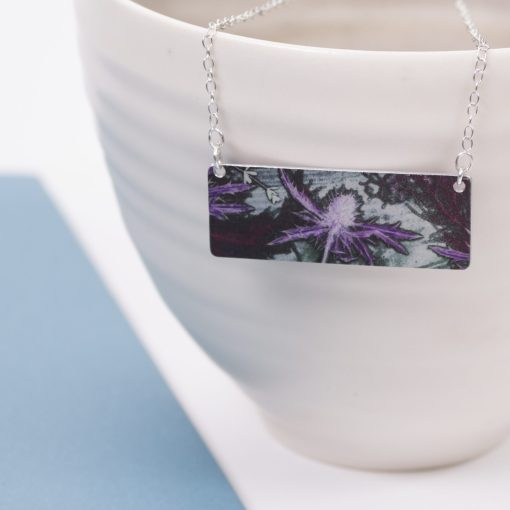 Botanical Inspired Purple Thistle Bar Pendant Necklace