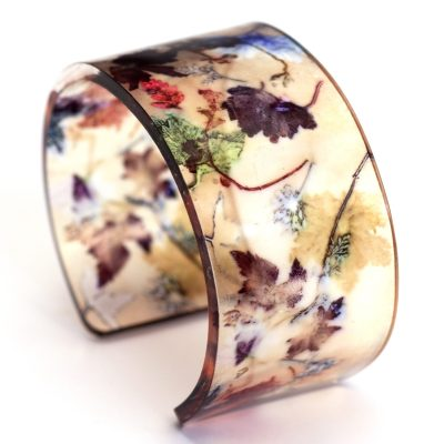 Falling leaves Acrylic Cuff, Botanical Inspired Jewellery Gift
