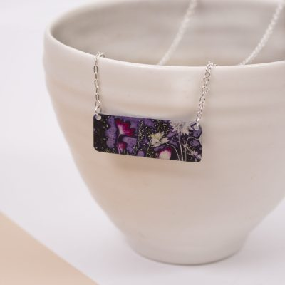 Botanical Inspired Electric Jungle Bar Pendant Necklace