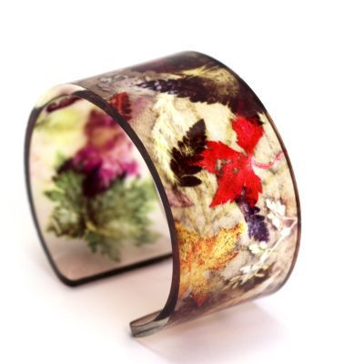 Floral Dance Acrylic Cuff, Botanical Inspired Jewellery Gift