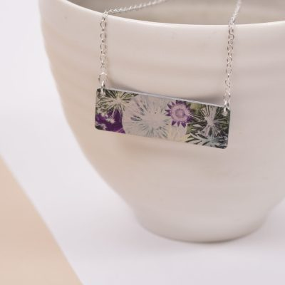 Botanical Inspired Winter Moon Bar Pendant Necklace