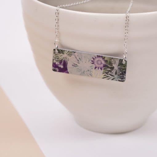 Botanical Inspired Winter Moon Bar Pendant Necklace