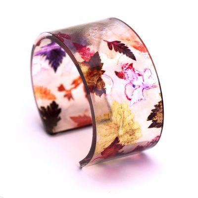 Autumn Flurry Acrylic Cuff, Botanical Inspired Jewellery Gift