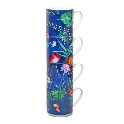 Indigo Tropical | Blue & Green Stacking Mug, Gift Set of 4