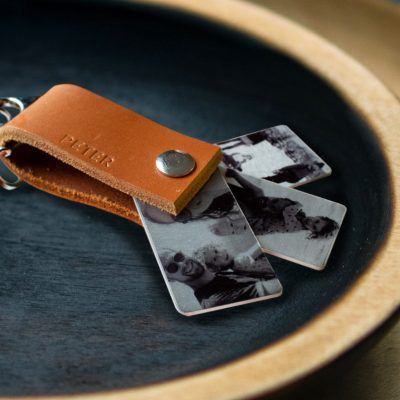 Men's Personalised Leather Photo Key Ring | Leather Gifts for Men