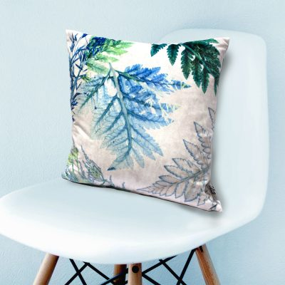 Forage 2 | Blue & Green Fern Design Sofa Cushion