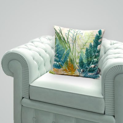 Fading Horizon | Blue/Green U0026 Bronze Sofa Cushion Fern Design