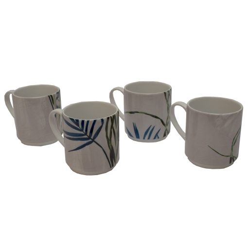 Bridging Vine | Cream & Green Stacking Mug, Gift Set of 4