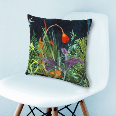 Secret Garden 1 | Dark Floral Print Sofa Cushion