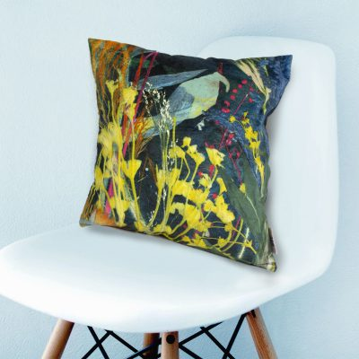Aqua Magna 1 | Teal & Yellow Botanical Design Sofa Cushion