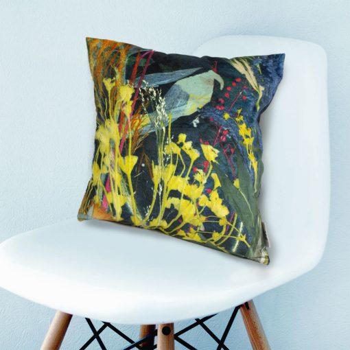 Aqua Magna 1   Teal & Yellow Botanical Design Sofa Cushion