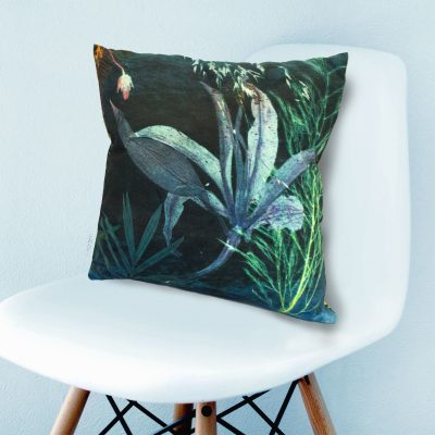 Aqua Magna 2 | Green & Blue Botanical Print Sofa Cushion