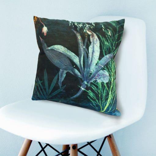 Aqua Magna 2 | Green & Blue Botanical Print Sofa Cushion