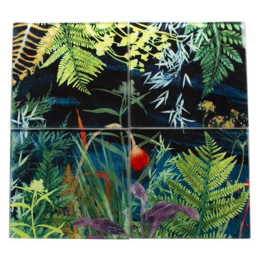 Secret Garden | Dark Botanical Set of Glass Coasters