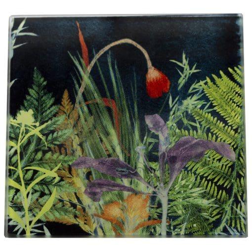 Secret Garden 1 | Dark Floral Single Glass Coaster