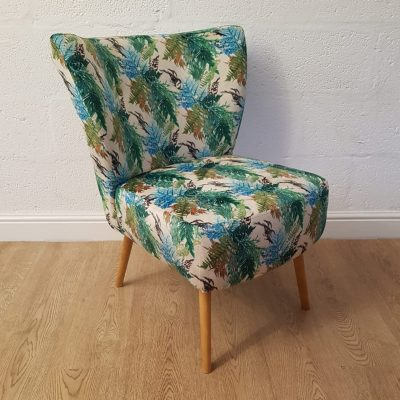 Forage | Modern Chair | Green & Cream Velvet Cocktail Chair