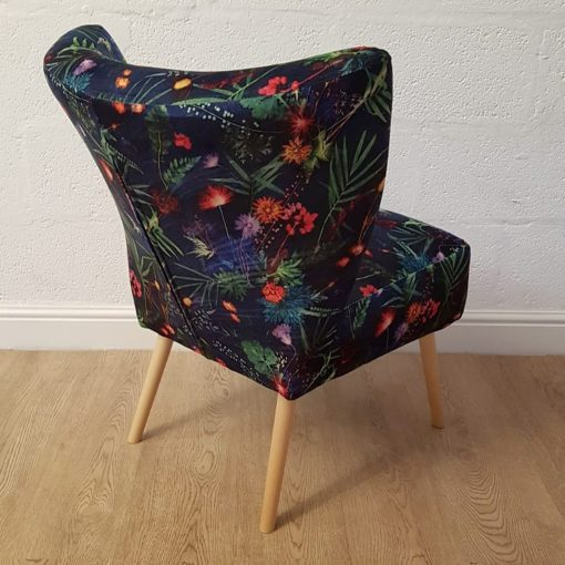 Indigo Tropical | Bedroom Chair | Blue Velvet Cocktail Chair