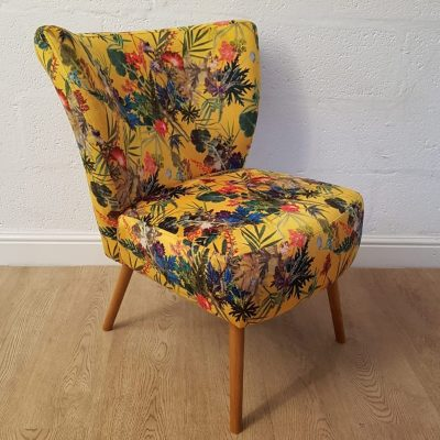 Summer Tropics | Accent Chair | Yellow Velvet Cocktail Chair