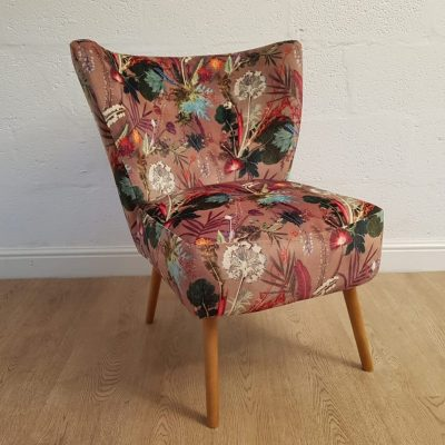 Tropical Dusk | Designer Chair | Brown Velvet Cocktail Chair