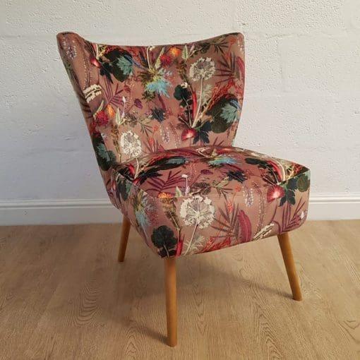 Tropical Dusk   Designer Chair   Brown Velvet Cocktail Chair